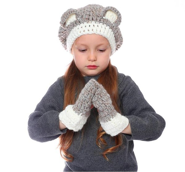 Kids Hat and Gloves Set Boys and Girls Children's Caps Cartoon Bears Autumn and Winter Warmth Wool SETS