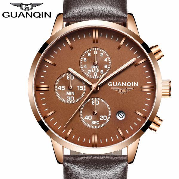 GUANQIN мужские часы топ бренд роскошные военные Спортивные кварцевые часы мужчины хронограф светящиеся руки мужские часы relogio masculino