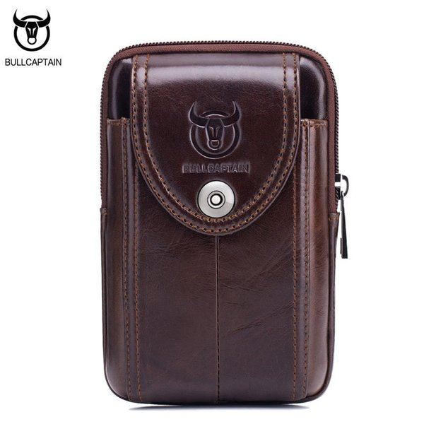 BULLCAPTAIN Vintage Leather Leather Uomo Vita PacBag Cintura Mini Man Borsa Alta qualità Retro Small Phone bag Marrone