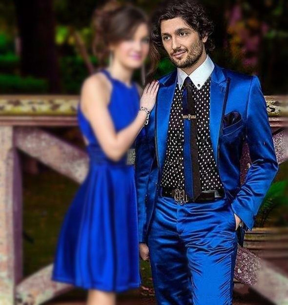 Acheter Haute Qualité Un Bouton Bleu Royal Satin Groom Tuxedos Groomsmen Peak Revers Meilleur Homme Blazer Mens Costumes De Mariage Veste + Pantalon +