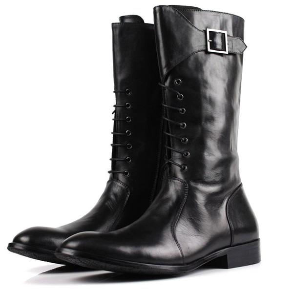 Acheter 2018 Nouvelle Haute Qualité En Cuir Véritable Hommes Bottes Hautes Bottes Militaires Noires Bottes Tactiques Hommes Chaussures En Cuir Hommes
