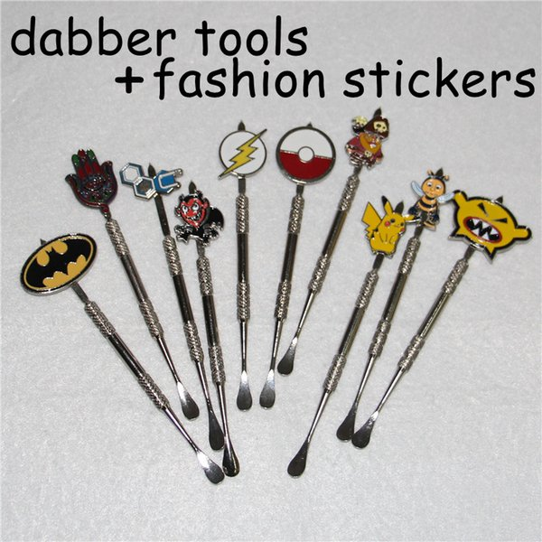 Wachs-Tupfer-Werkzeug mit Mode-Aufklebern Wachs-Zerstäuber-Cig-Edelstahl-Tupfer-Werkzeug Titan-Nagel-Tupfer-Werkzeug-Trocken-Kräuter-Verdampfer-Stift-Tupfer