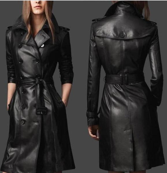 best selling NEW Women's New Coat Faux   PU Leather Black Slim Fit Trench Coat Jacket Belt Overcoat