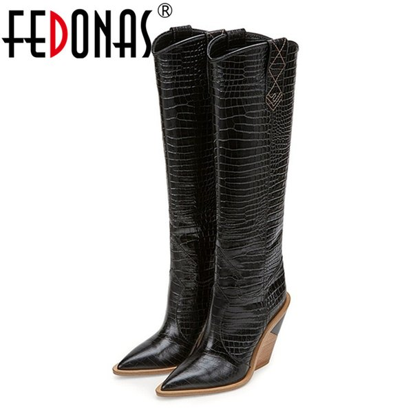 FEDONAS Sexy Embossed Microfiber Leather Women Boots Western Cowboy High Boots Chunky High Heels Knee Shoes Woman