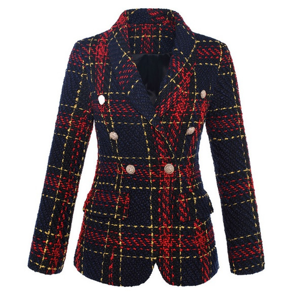 New With Label Brand B Top Quality Original Design Women's Double-Breasted Metal Buckle Blazer Navy Red Plaid Slim Jacket Outwear