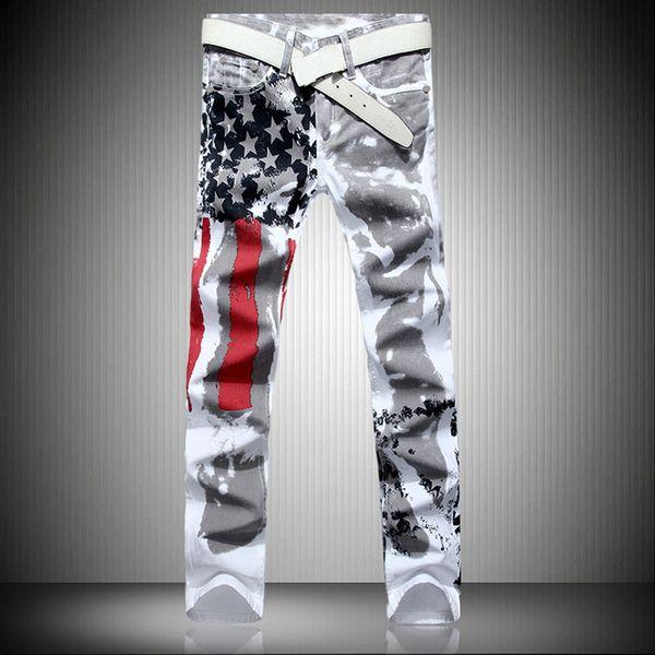 Men Casual American USA Flag Printed Jeans Pants Mens Graffiti Print White Hip-hop Fashion Jean Slim Fit Trousers,8231