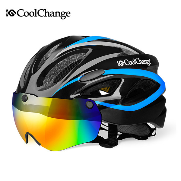 CoolChange Bicycle EPS Insect Net Road MTB Bike Windproof Lenses Integrally-molded Helmet Cycling Casco Ciclismo C18110801