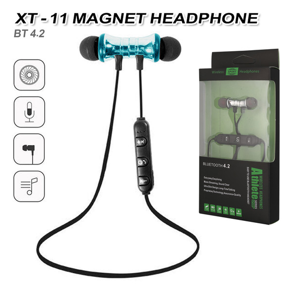 best selling XT11 Bluetooth Headphones Magnetic Wireless Running Sport Earphones Headset BT 4.2 with Mic MP3 Earbud For iPhone LG Smartphones in Box