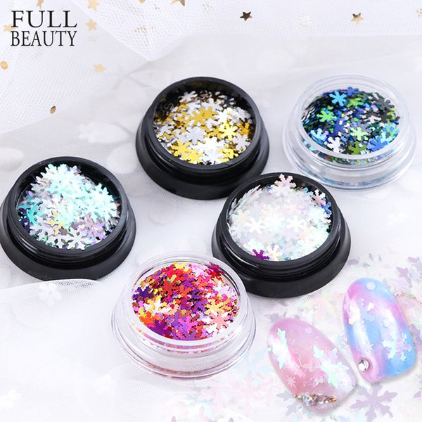 Full Beauty 1 Box 3D Glitter Nail Art Snowflake Christmas Decorations Mixed Color Sequins Tips Manicure DIY Winter Sticker CH716