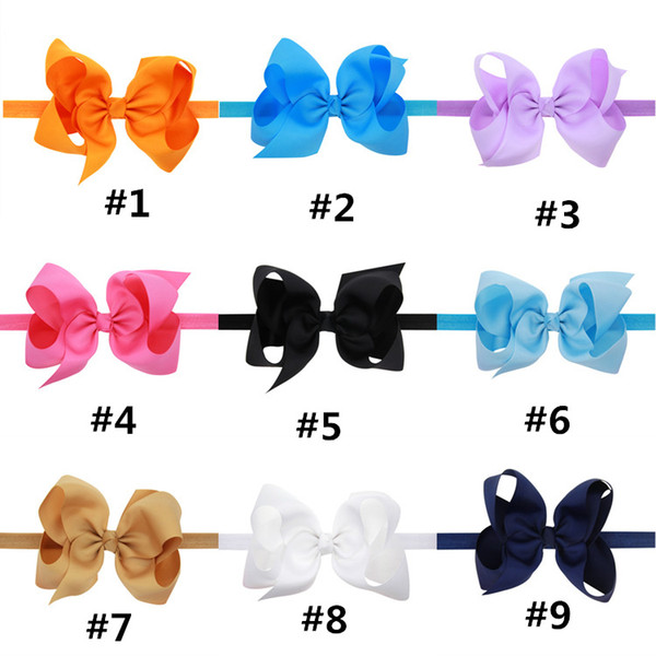 Baby Bows Headbands Kids Ribbon Elastic Headbands for Girls Children Hair Accessories Double Bowknot Hairband 16 Color LC695