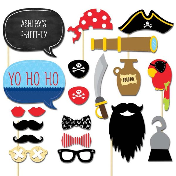Meidding 20pcs /Set 2018 Pirates Styles Photo Booth Props Funny Mustache Glasses Diy Kits Lips Birthday Party Decoration Supplies