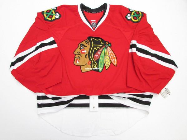 Billige benutzerdefinierte CHICAGO BLACKHAWKS AUTHENTISCHE HOME EDGE JERSEY GOALIE CUT 60 Herren genäht personalisierte Hockey Trikots