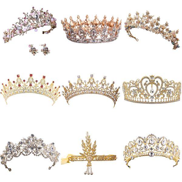 Heißer Verkauf Gold Kristall Tiara Krone Für Hochzeit Haarschmuck Prinzessin Königin Hochzeit Krone Strass Braut Haarschmuck