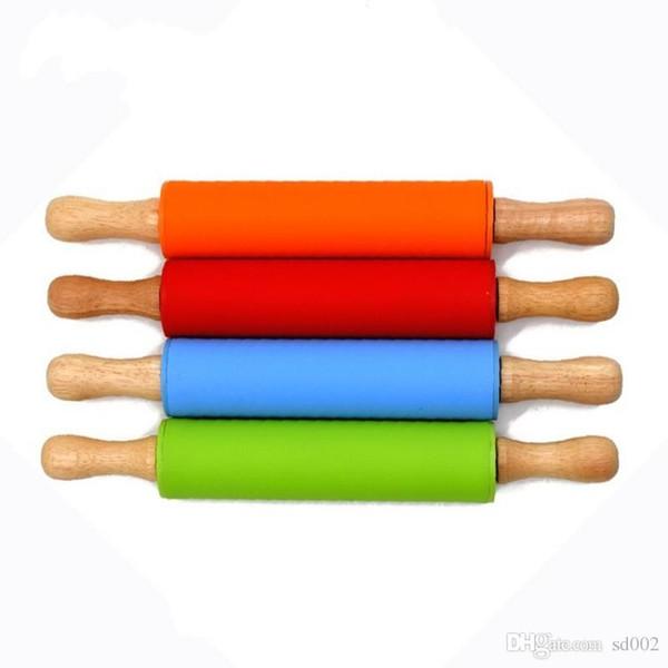 Bardian Safe Silica Gel Pâte Rouleau Chunky Poignée En Bois Petites Broches Roulantes Léger Silicone Boulette Bâton Cuisine Outils 6 66as dd