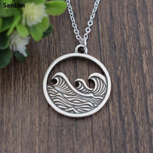 whole saleSanLan Wave necklace nautical Surfing jewelry beach gift for her ocean waves vacation travel jewelry wanderlust