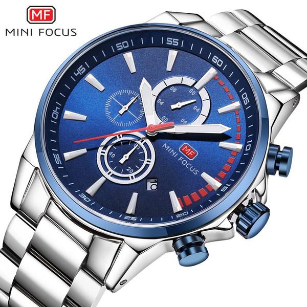 MINI FOCUS Marke Luxus Männer Chronograph Quarz Geschäfts Uhren Männer Edelstahl Militär Sport Armbanduhr Männliche Datum Uhr