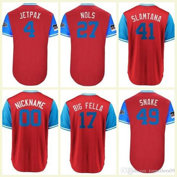 201 Rhys Hoskins Aaron Nola Jersey Jugadores Fin de semana Phillies Jersey Scott Kingery Jake Carlos Santana Scarlet Camiseta de béisbol personalizada