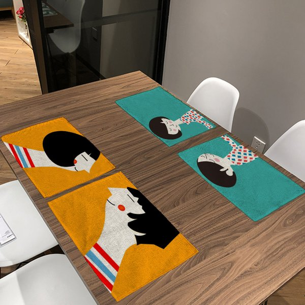 Acheter Couple Chinois Amoureux Points Serviette De Table Noir Et Beige  Rayé Set De Table Lettre Rose Table Tapis Décor Salle À Manger Décor De  $34.41 ...