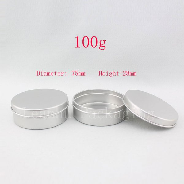 100g aluminum round empty canning jar / tin /containers ,aluminum storage container ,candle tin,tea container, 50pc/lot