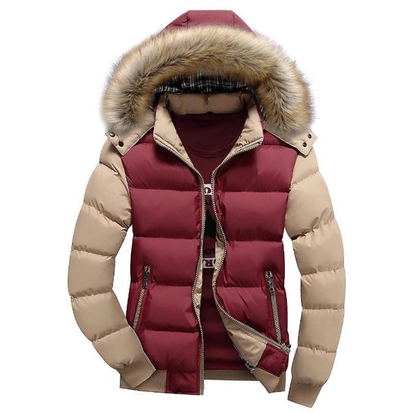 Kış ceket erkekler parkas 2018 yeni moda hoodie kalınlaşmış kış ceket erkekler sıcak pamuk-yastıklı kürk yaka zip ceket giysi
