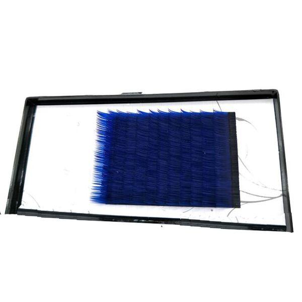 C D curl 0.1mm 10/12mm false lashes Royal blue color eyelash individual colored lashes Faux volume eyelash extensions