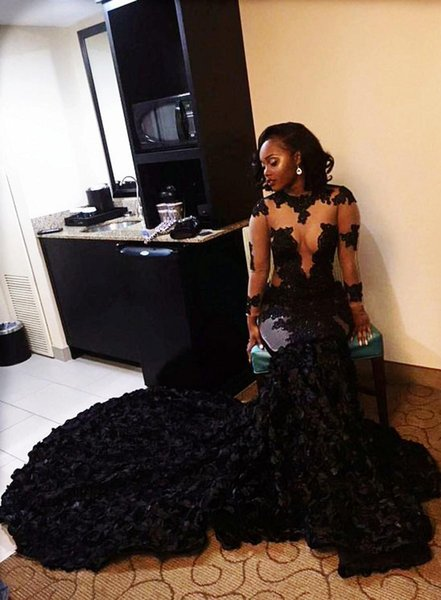 2018 Luxury African Black Girls Mermaid Prom Dresses Handmade Flowers Court Train Long Illusion Sleeves Formal Evening Party Wear Custom