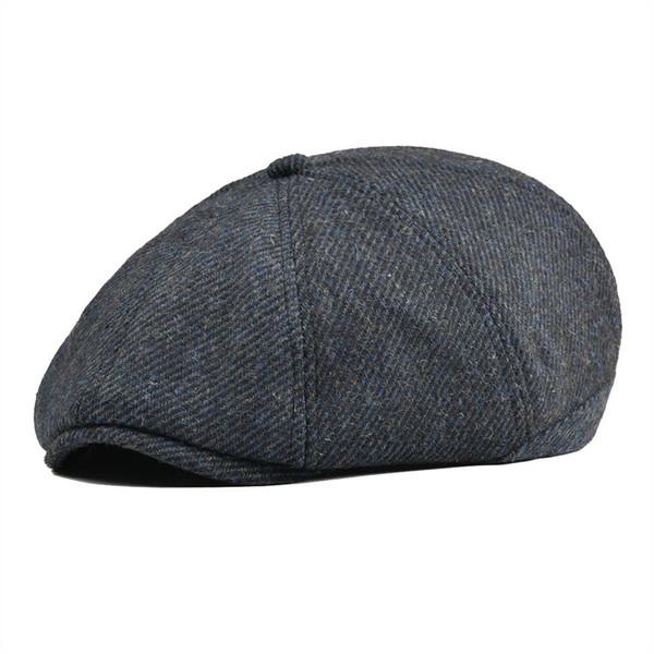 a53b88394 Voboom Women Men Tweed Twill Woolen Newsboy Cap Navy Blue 8 Panel Country  Baker Boy Ivy Flat Cap Beret Hats Cabbie Boina 111 Y18102210 Cap Shop ...