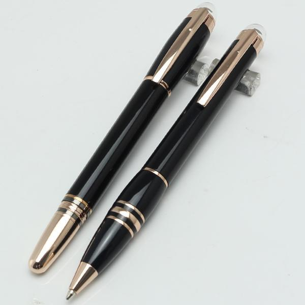 Luxury MB PEN Black with rose Gold ballpoint pen/roller ball pen luxury Stationery Supplies pens Hot