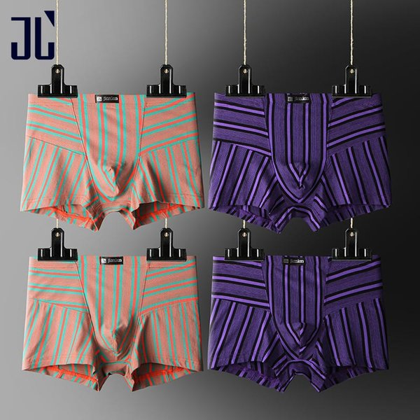 JL 4 Pack Bamboo Underwear for Man U Convex Boxer Men Pouch Seamless Slip Male Underpants Striped Sexy Underwear Shorts Men