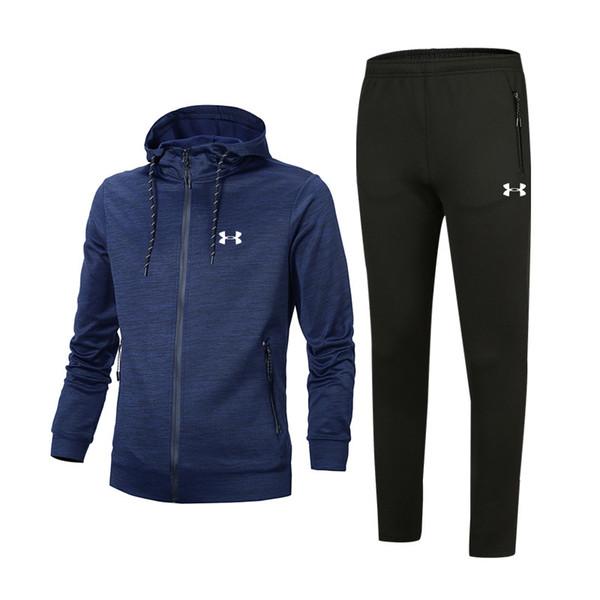 2019 MensTracksuits Print Zipper Suit Mens Clothes Best Version Spring Autumn Tops+Pants Men Fashion Casual Sweatshirt Sport Suits
