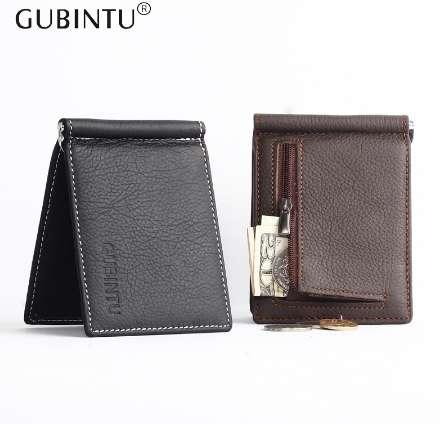 GUNBINTU Assurance Soft Leather Money Clip With Zipper Coin Pocket Slim Bifold Money Clip For Men Purse Money Holder Cheap Black