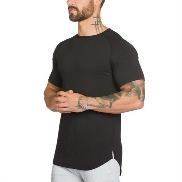 2018 New Brand Clothing Mens Black short sleeve t shirt Hip Hop extra long tops tee tshirts for men cotton golds gyms t-shirt