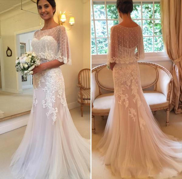 2018 A Line Wedding Dresses Sweetheart Sleeveless Lace Appliques Beaded Open Back Sweep Train With Cape Wrap Beach Bohemian Bridal Dress