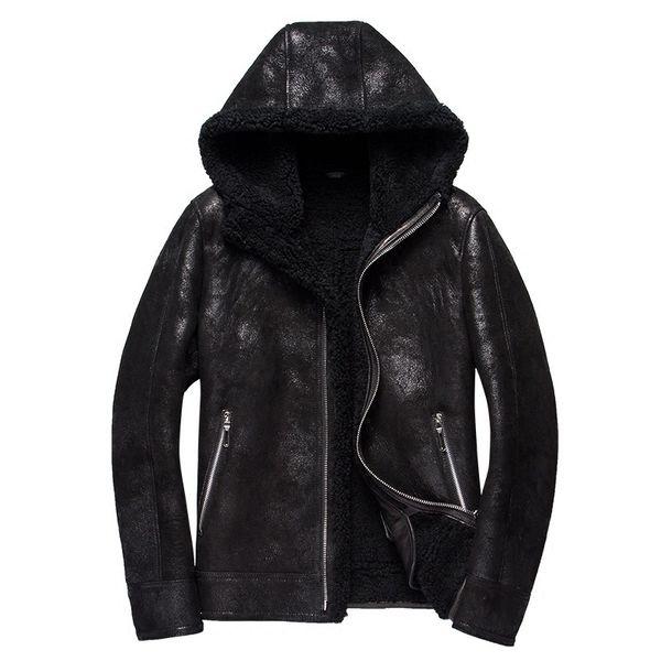 2018 Winter Jacket Hooded Mens 100% Genuine Sheepskin Leather Jacket Male Fur Coat Thickening Warm Windbreaker Biker Tops Luxury