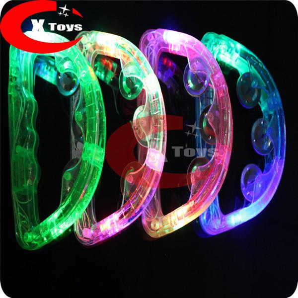 Comercio al por mayor LED parpadeante partido Pandereta proveedor iluminar Tambourine Holiday KTV 50 unids / lote entrega rápida shiping gratis