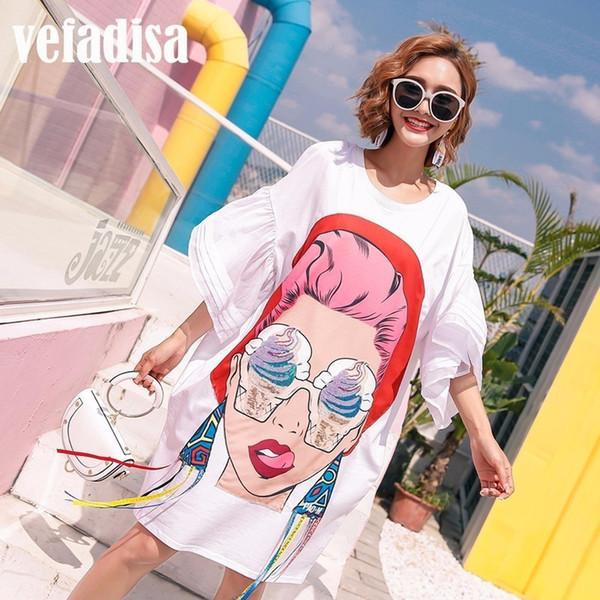 Vefadisa 2018 Summer Women Cartoon Sequin Dress Print Asymmetrical Dresses Loose Casual Tassel Irregular T Shirt Dress A097Y1882301