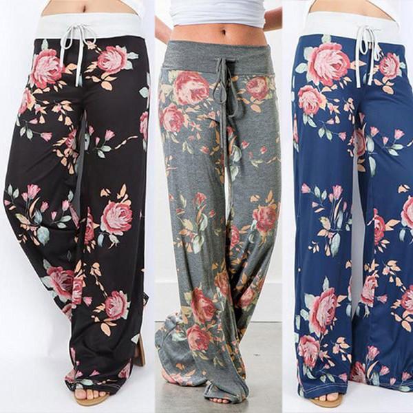 New Fashion Floral Print Womens Loose Cotton Sport Trouser Yoga Pants Casual Long Wide Leg Pants