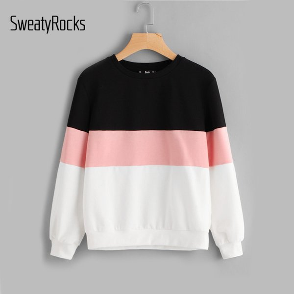 Großhandel SweatyRocks Active Chic Sweatshirts Cut Nähen Patchwork Pullover Frauen Tops Farbblock Rundhalsausschnitt Herbst Beiläufige Frauen