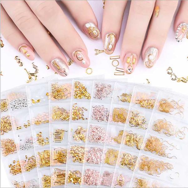6grids/pack Rose Gold Star Moon Shell Nail Studs Rivet Ultrathin Metallic Ocean Tips Manicure DIY Hollow 3D Nail Art Decorations