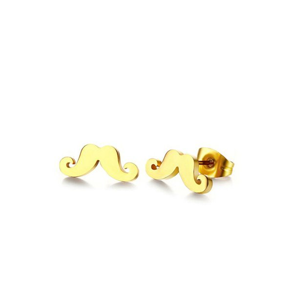 Stainless Steel Gold Plated Jewelry Small Mustache style Stainless Steel Hoop Earrings ES-023
