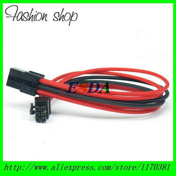 "Heatshrinkless Sleeved Black & Red 6 Pin PCIe PCI-E GPU Power Extension Cable - 30CM (12"")"
