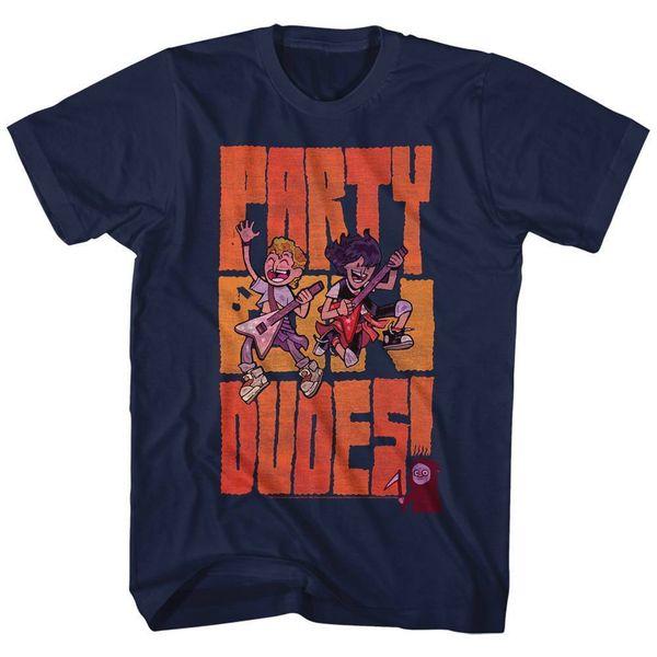 Maglietta manica corta BILL AND TED uomo NAVY PARTYDUDES manica corta da uomo Tee, maglietta o-collo in maglia,