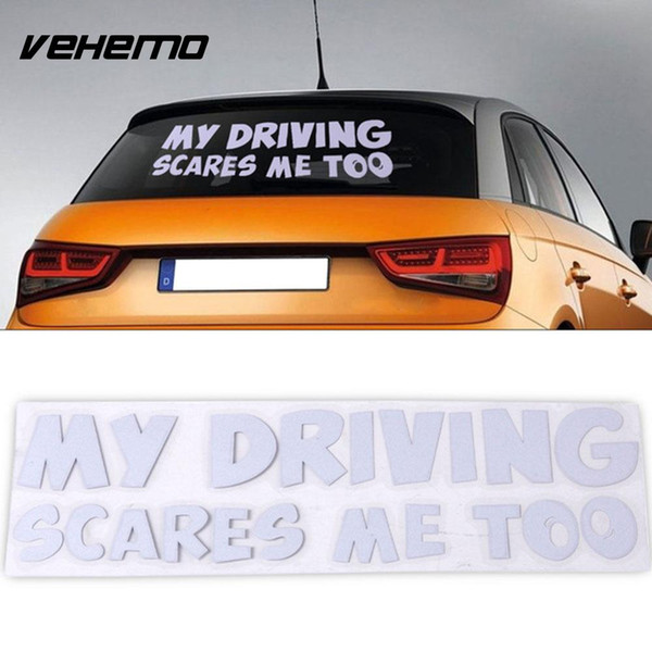 MY DRIVING SCARES ME TOO Sticker Car Decal Sticker Personality Word Car Emblem Tail Auto 20*6cm PET Funny