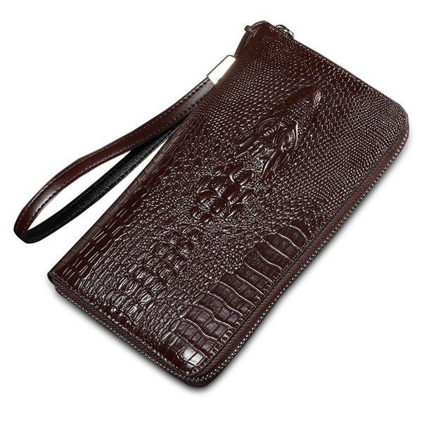 3b11a02be5ba Crocodile Pattern Clutch Men Wallets Genuine Leather Coin Pocket Male Long  Wallet Card Holder High Quality Men Purse Batman Wallet Handmade Leather ...