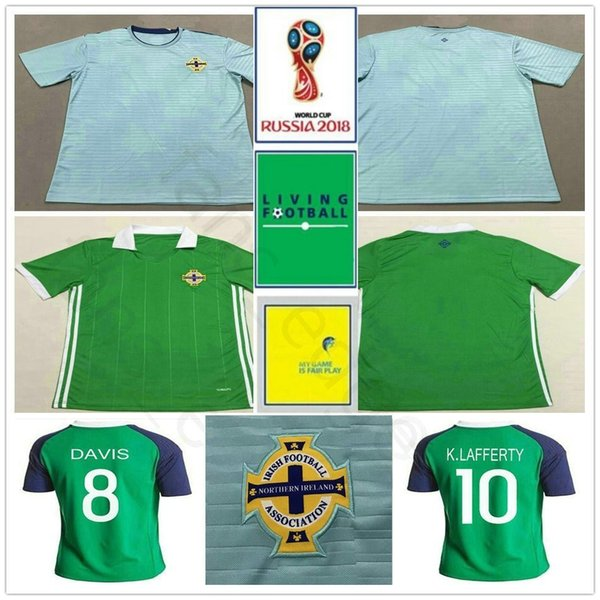 2018 World Cup Northern Ireland Soccer Jersey 8 DAVIS 10 K.LAFFERTY 5 J.EVANS 17 McNAIR Custom Away Blue Football Shirt