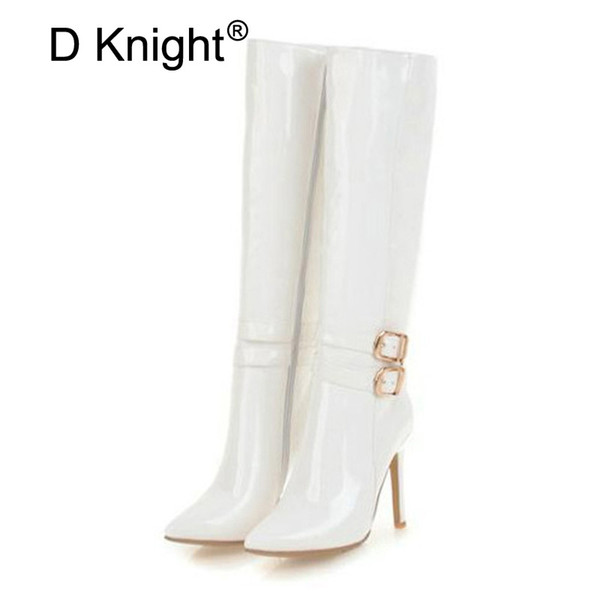 10CM Extreme High Heels Boots Fashion Pole Dancing Knee-High Boots Side Zip Ladies Knee Plus Size 33-48 Woman Winter Shoes