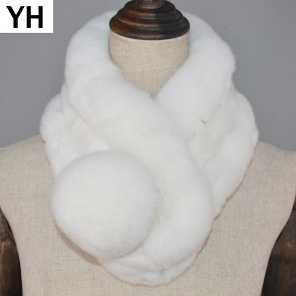 2018 Hot Sale Real Natural Rex Rabbit Fur Scarf Women Winter Rabbit Fur Ring Scarf Genuine Scarves Retail Wholesale