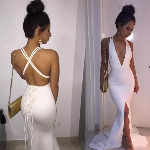 2019 Chic White Mermaid celebrity Prom Dresses Sexy Deep V Neck Front Split Criss Cross Straps Back Long Party Evening Gowns