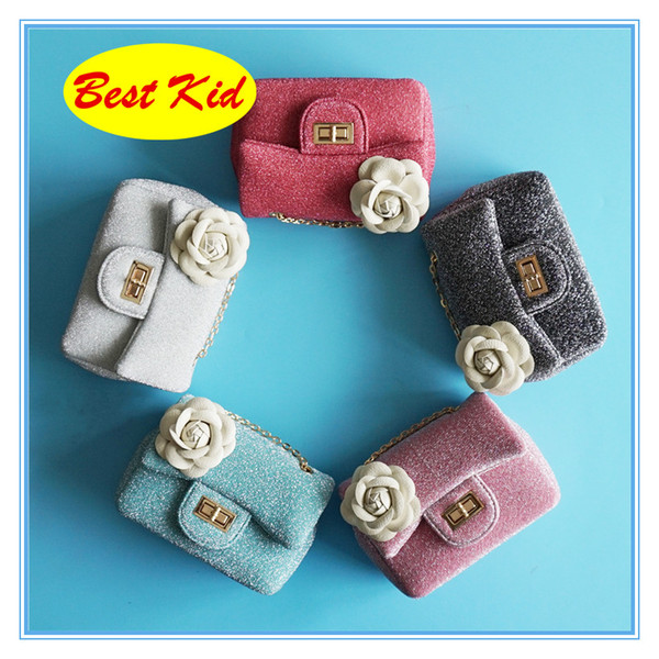 DHL Free Shipping!BestKid Stylish Flower Shiny Cotton Shoulder Bags Kids Small Coin Purse Childrens Fashion New Wallets SMT053D