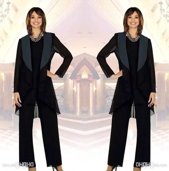 Zarif Şifon Anne Gelin Pant Suits ile Ceket Üç Adet Dantelli Gelin düğün Konuk Parti Törenlerinde anneler Elbiseler BA7747